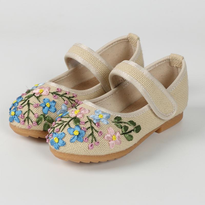 老北京春季新款女童2019儿童布鞋亲子鞋一脚蹬女绣花鞋汉服鞋子