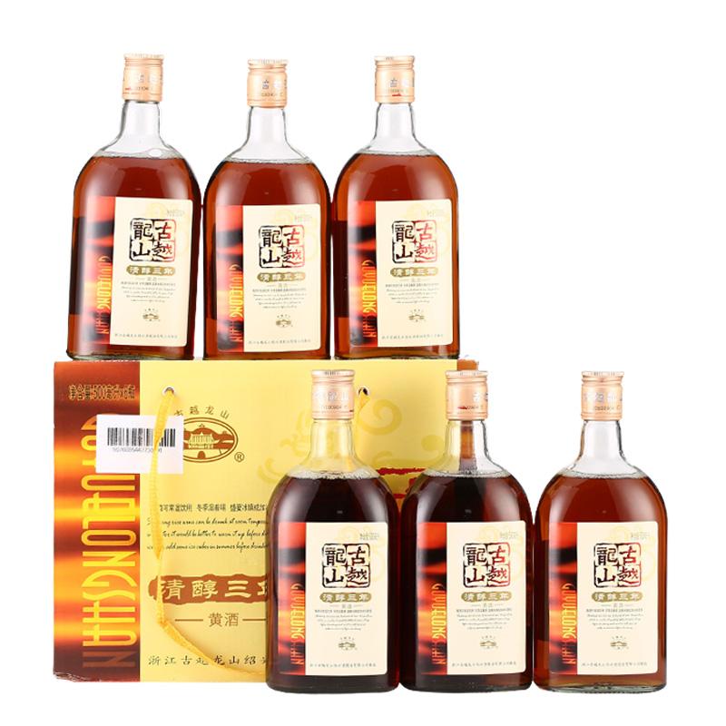 瓶 泡阿胶 瓶 6 古越龙山黄酒绍兴花雕酒清醇三年半甜型 500ml