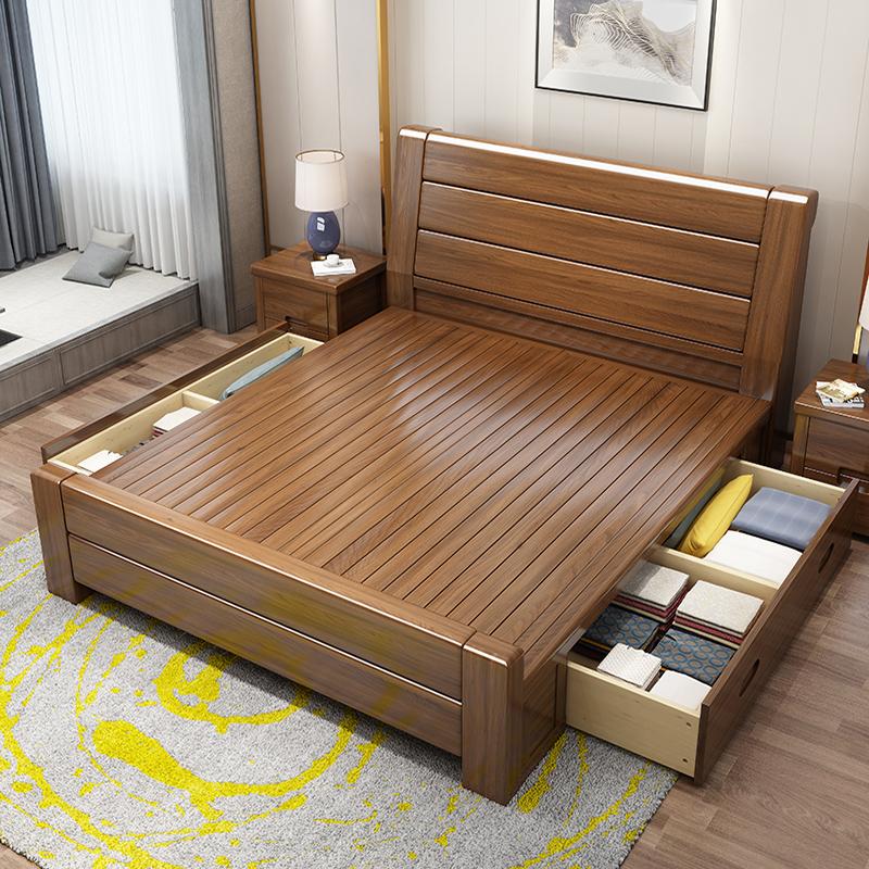 全实木床胡桃木储物床主卧1.8米中式双人床简约现代高箱抽屉床