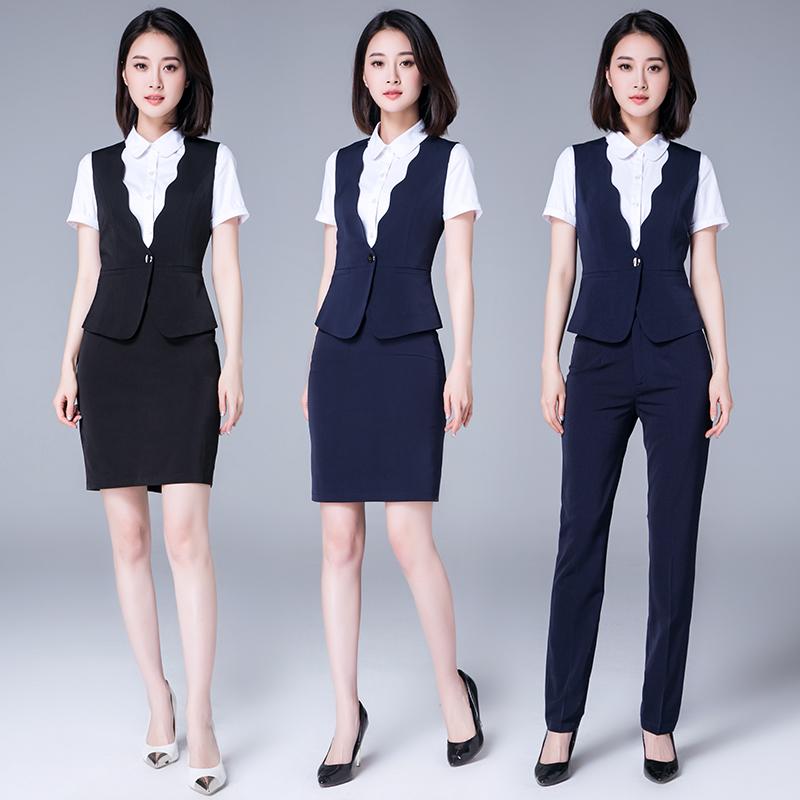 职业套裙西装马甲女短款英伦套装时尚气质夏季酒店领班工作服经理