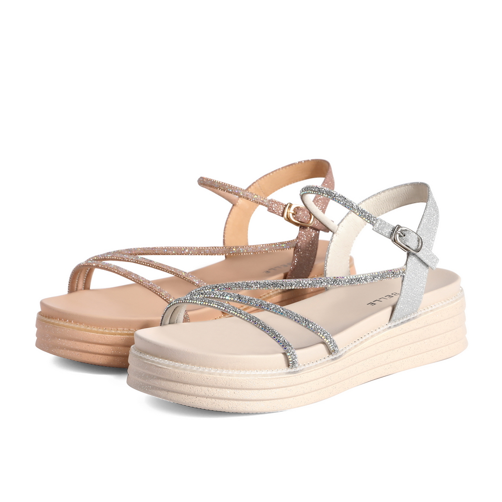 聚 W4H1DBL1 夏新商场同款时尚休闲度假风女厚底凉鞋 2021 百丽