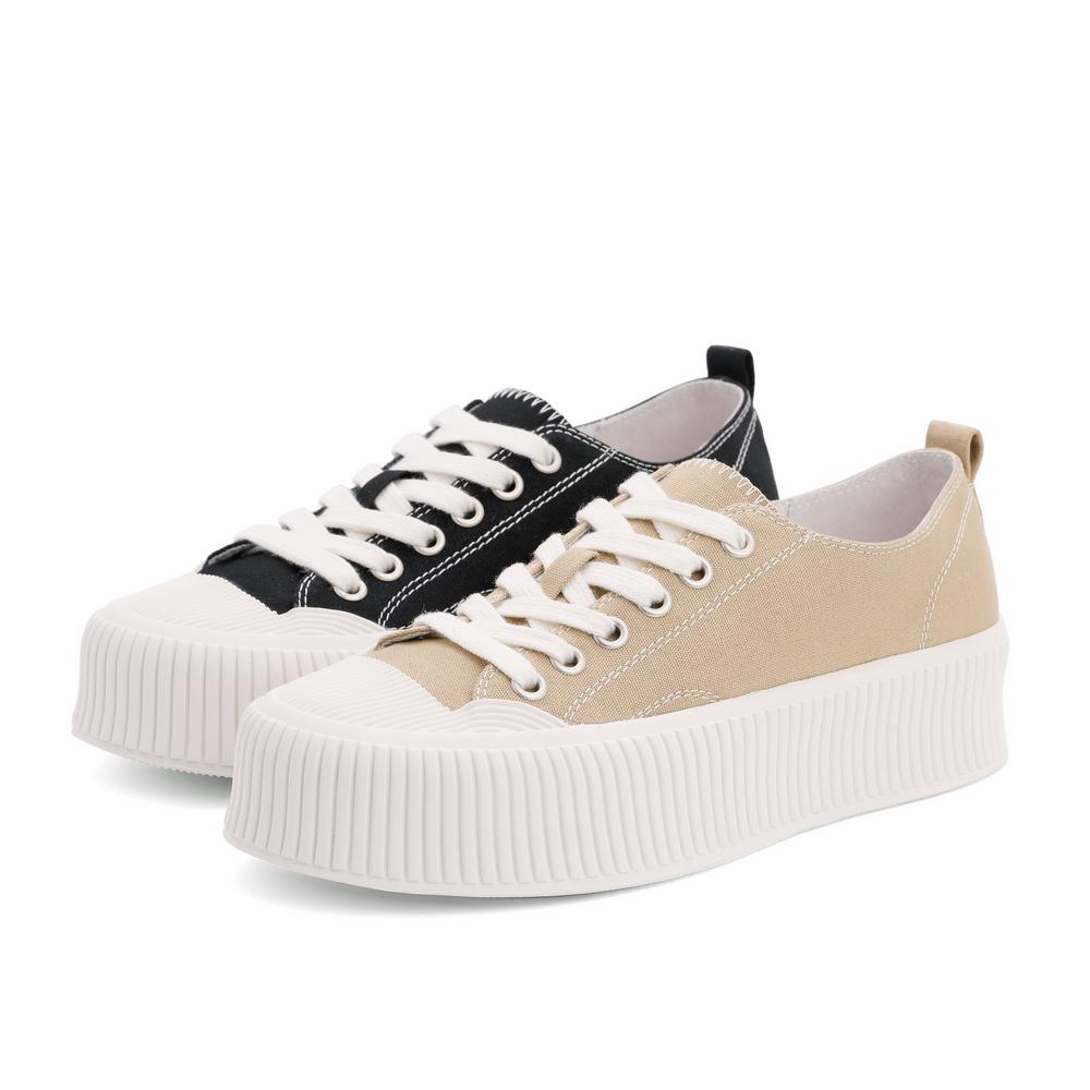 预聚 B0502CM1 秋新商场同款厚底饼干纹小白鞋 2021 百丽休闲帆布鞋女