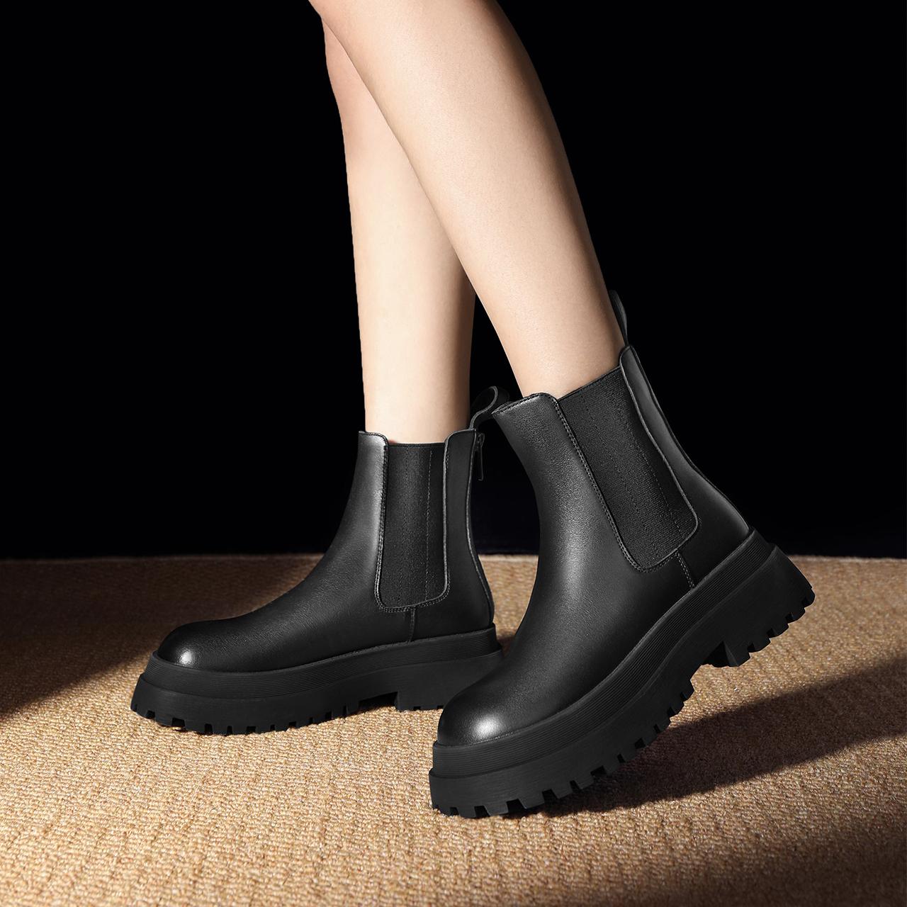 X2G2DDD1 冬新商场同款英伦风厚底短靴舒适加绒 2021 百丽切尔西靴女