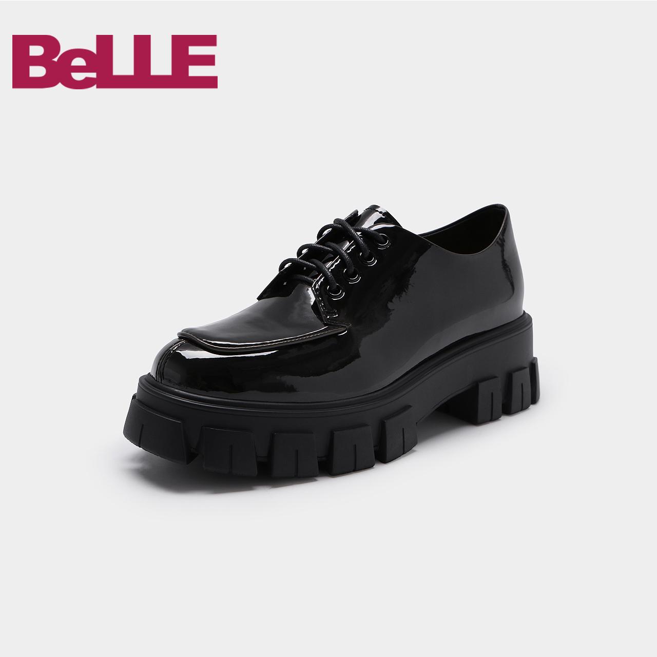 3HJ20CM9 秋新商场同款英伦漆面系带女休闲鞋 2019 百丽厚底单鞋女