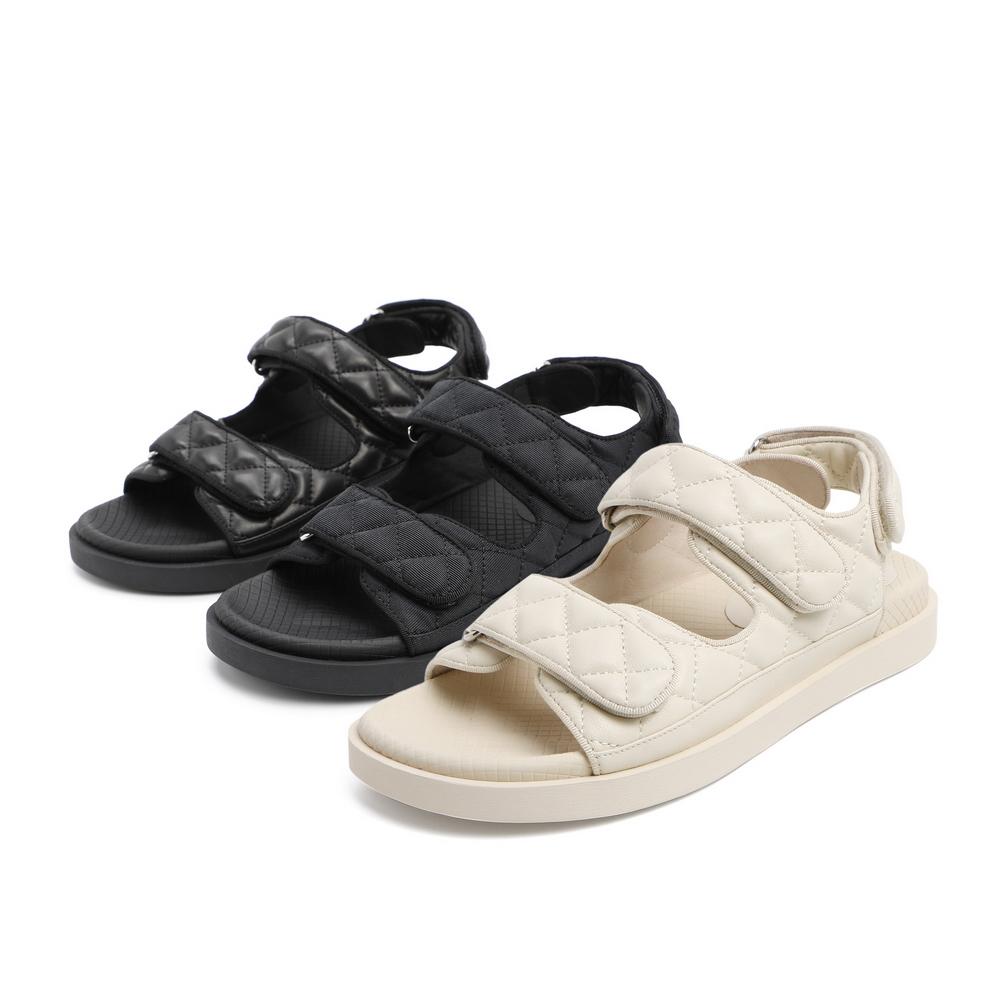 聚 3RJ30BL0 夏商场新款菱格纹羊皮休闲松糕凉鞋 2020 百丽平底凉鞋女