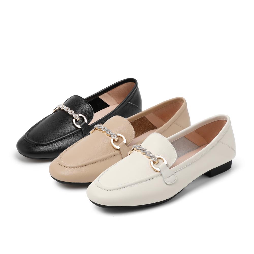 V4B2DCQ0 春夏新商场同款水钻复古平底鞋 2020 百丽英伦风乐福鞋女