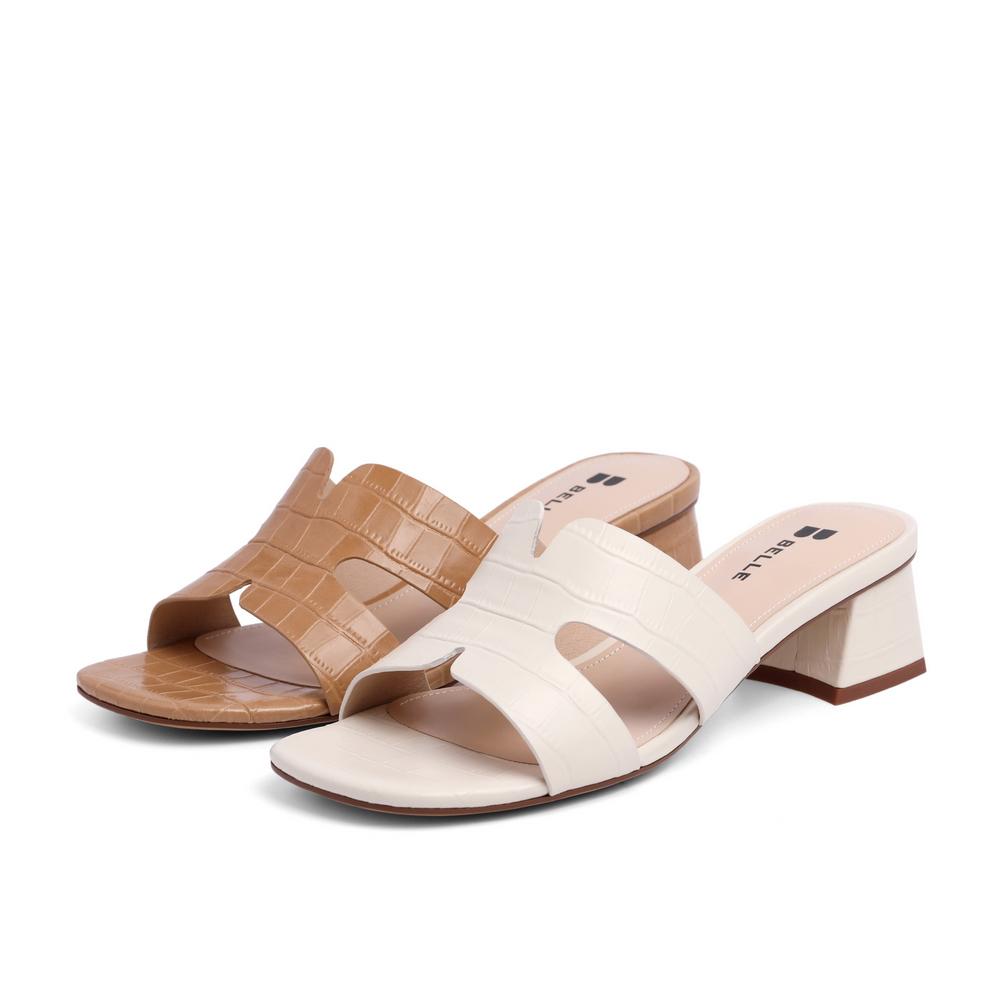3NYB9BT1 夏新女商场同款牛皮革石头纹粗跟拖鞋外穿 2021 百丽