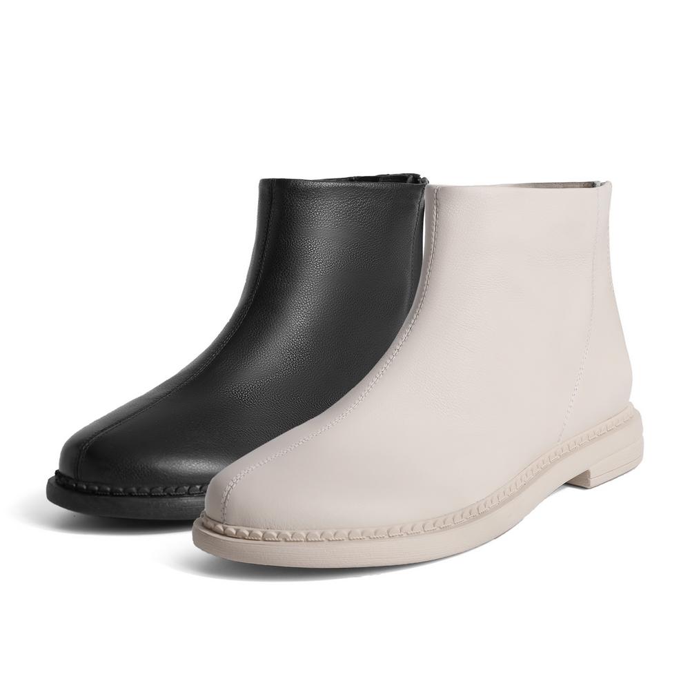 聚 V8F1DDD0 冬新商场同款休闲复古瘦瘦短靴 2020 百丽平底短靴女