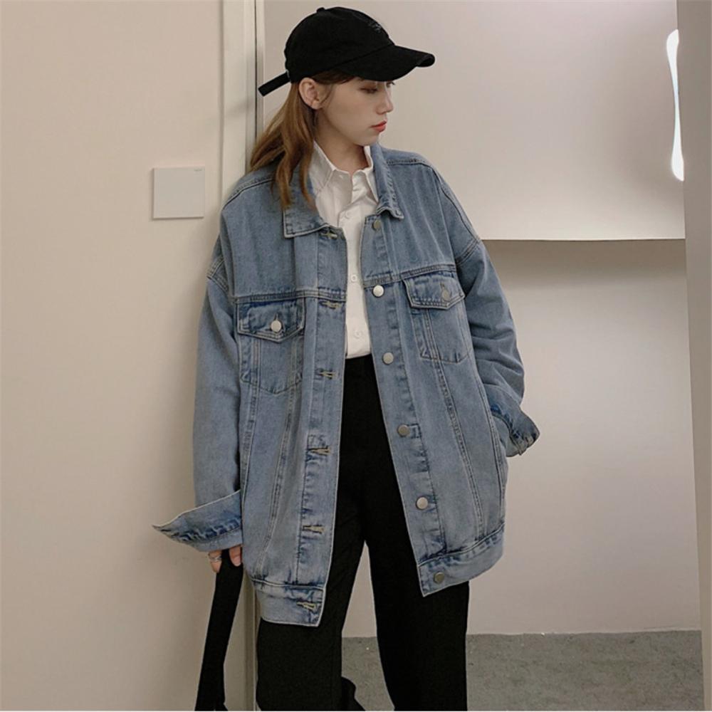 牛仔外套女春秋季2021年新款韩版学生bf宽松oversize长袖夹克上衣