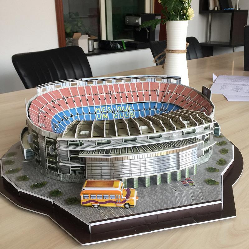 巴萨诺坎普皇马伯纳乌足球3d球场模型拼装圣西罗安联尤文立体摆件