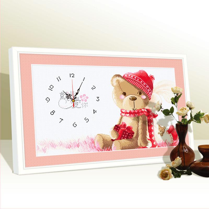 小熊钻石画钟表满钻卡通带时间钟贴钻十字绣挂钟粘点钻画卧室情侣