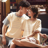 Spring and summer cotton couple pajamas cartoon casual men and women youth short-sleeved shorts sports home service suits can be worn outside