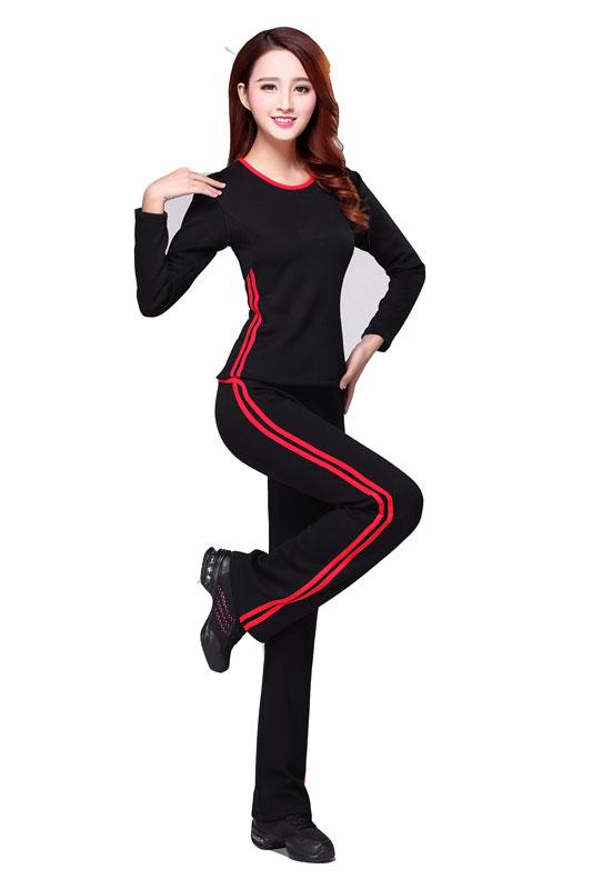 广场舞服装加绒加厚秋冬运动套装高弹大红舞蹈服跳舞衣服保暖透气
