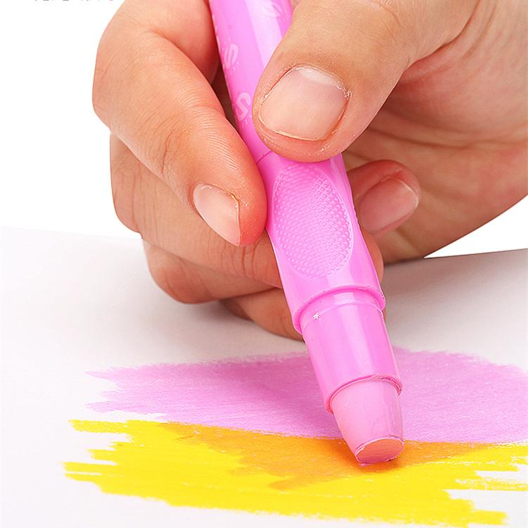 阳光天使炫彩棒丝滑水溶性油画棒 旋转式学生儿童涂鸦彩绘画蜡笔幼儿园图画笔带笔杆不脏手不易断