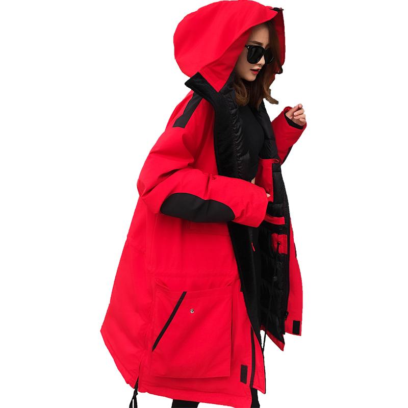 韩国东大门过膝大码情侣红色反季工装羽绒服女中长款2018新款冬潮