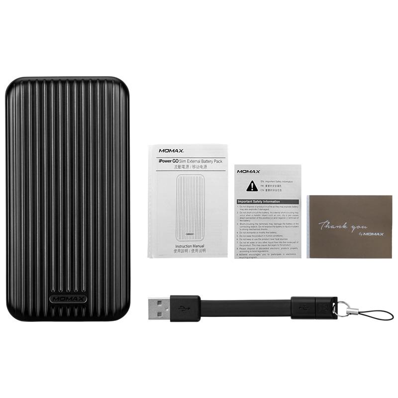 MOMAX摩米士 轻薄移动电源手机聚合物充电宝10000旅行箱双USB快充