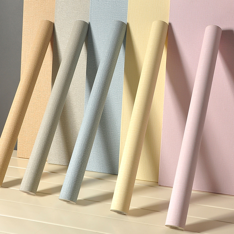 纯色素色宿舍寝室大学生装饰家具翻新贴 pvc 墙纸卧室温馨壁纸防水