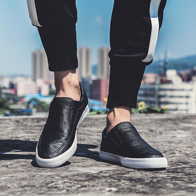 男鞋夏季潮鞋一脚蹬懒人板鞋韩版百搭潮流男士休闲鞋子乐福鞋皮鞋