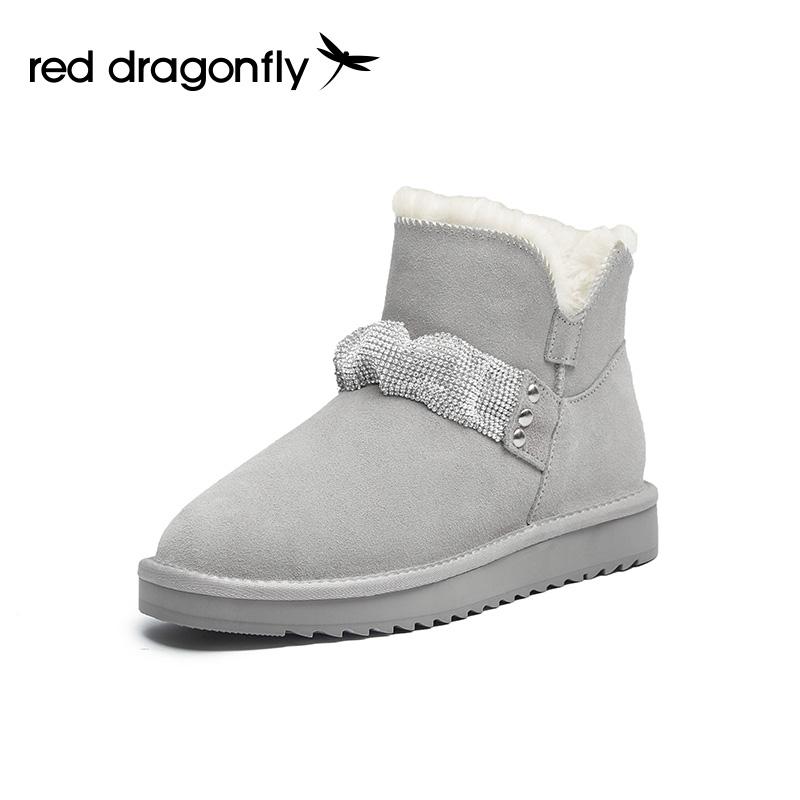 双11预售红蜻蜓雪地靴女2021年冬季新款厚底防滑加绒保暖短靴单靴
