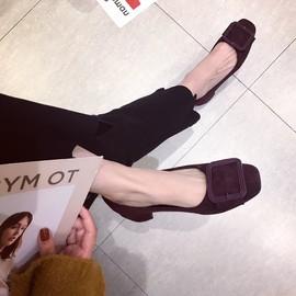 2020春季新款韩版经典百搭金属扣方扣绒面粗跟女鞋子方头浅口单鞋