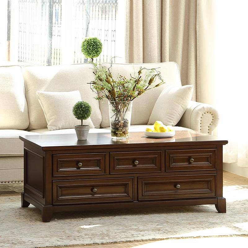 美式全实木茶几客厅乡村方几储物边几茶桌樱桃木咖啡桌熙和家具