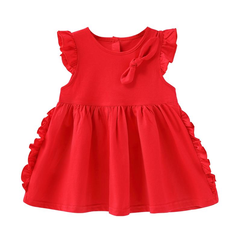 女童红色连衣裙1-3岁女宝宝裙子夏儿童纯棉婴儿夏装6婴幼儿公主裙