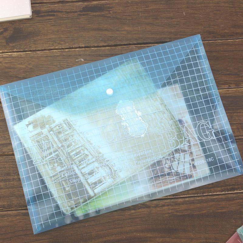包邮 办公按扣透明文件袋 A4塑料文件资料袋透明收纳袋试卷袋
