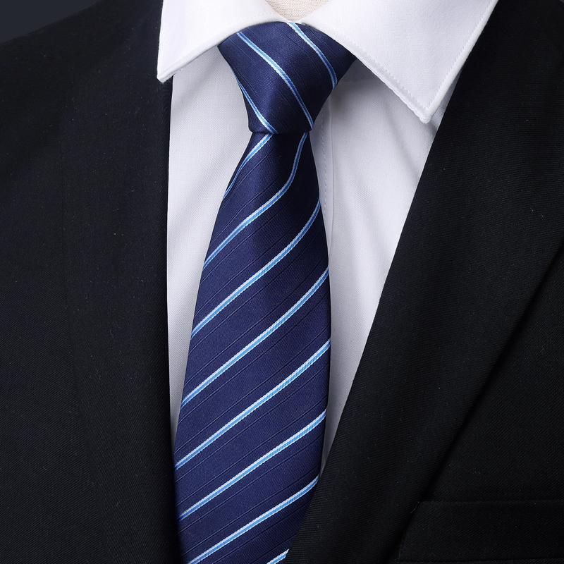 男士商务正装结婚新郎领带学生工作韩版懒人蓝色黑色8CM领带