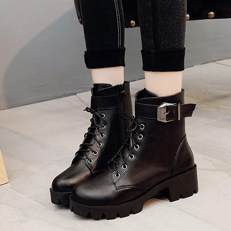 秋冬高跟复古马丁靴潮女英伦风机车靴子厚底系带粗跟短靴拉链女鞋