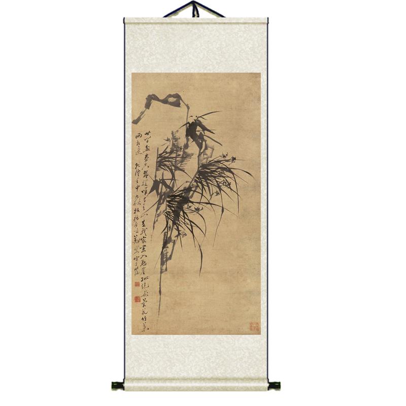 蘭花仿古禪意絲綢掛畫蕙質蘭心客廳玄關裝飾掛畫送客戶老師禮品