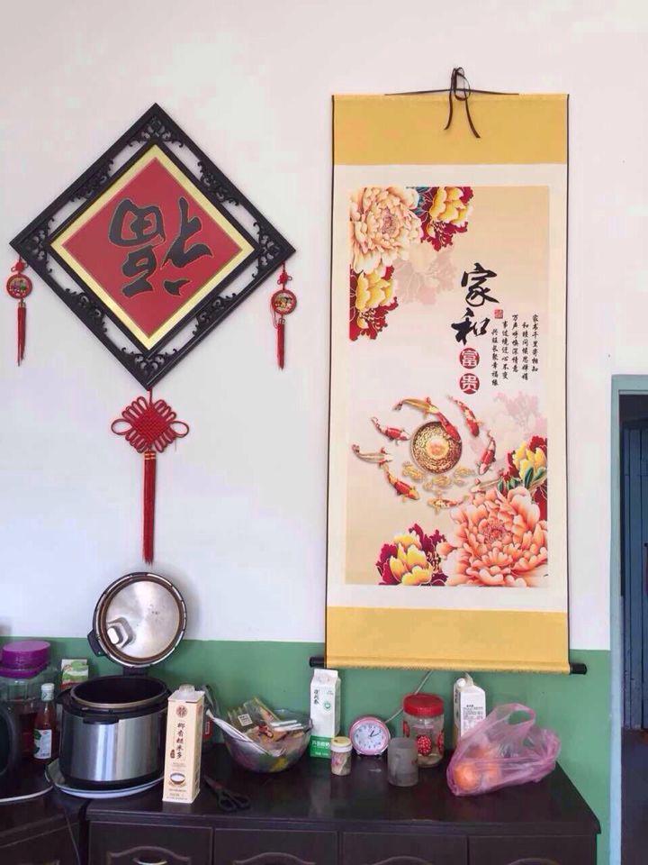 150*30工笔牡丹花鸟卷轴字画丝绸茶楼古典挂画字画可定制条幅