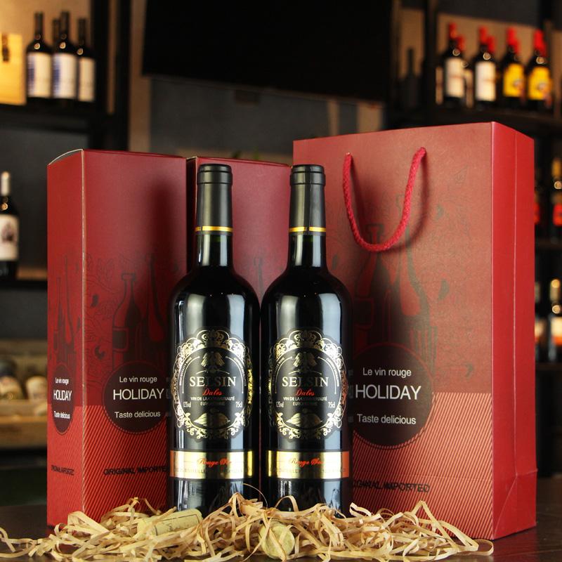 【第二件半价】法国原瓶进口红酒 14度原装干红葡萄酒2支礼盒装