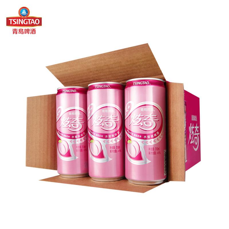 听全国包邮 12 310ml 炫奇系列甜香醇厚 水蜜桃果啤啤酒 青岛啤酒