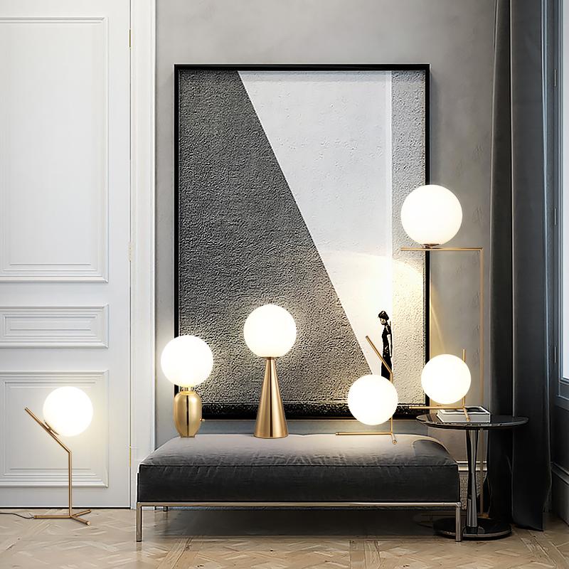 现代简约玻璃球立灯落地灯北欧个姓卧室床头客厅沙发圆球落地灯 kc