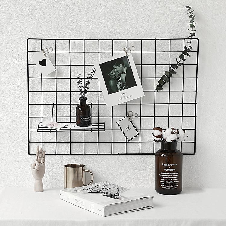 态生活ins北欧简约铁艺网格照片墙装饰 家居卧室创意墙壁铁网挂架