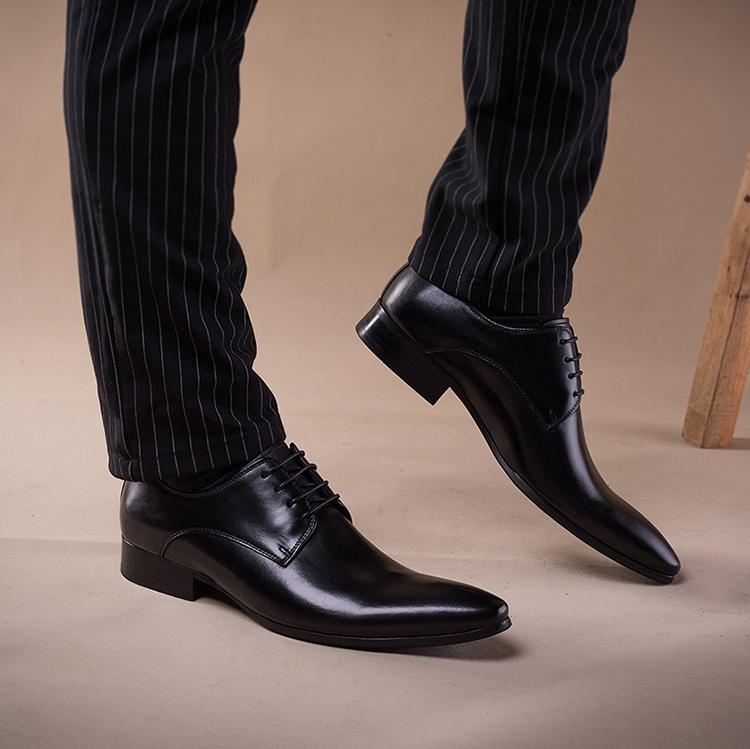 米蘭尖頭皮鞋男秋冬英倫潮流真皮牛皮鞋商務西裝皮鞋韓版軟皮透氣