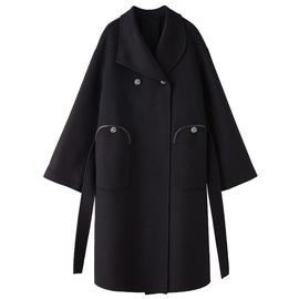 子晴 Vintage毛呢外套女2019秋冬新款赫本风气质复古双面呢子大衣