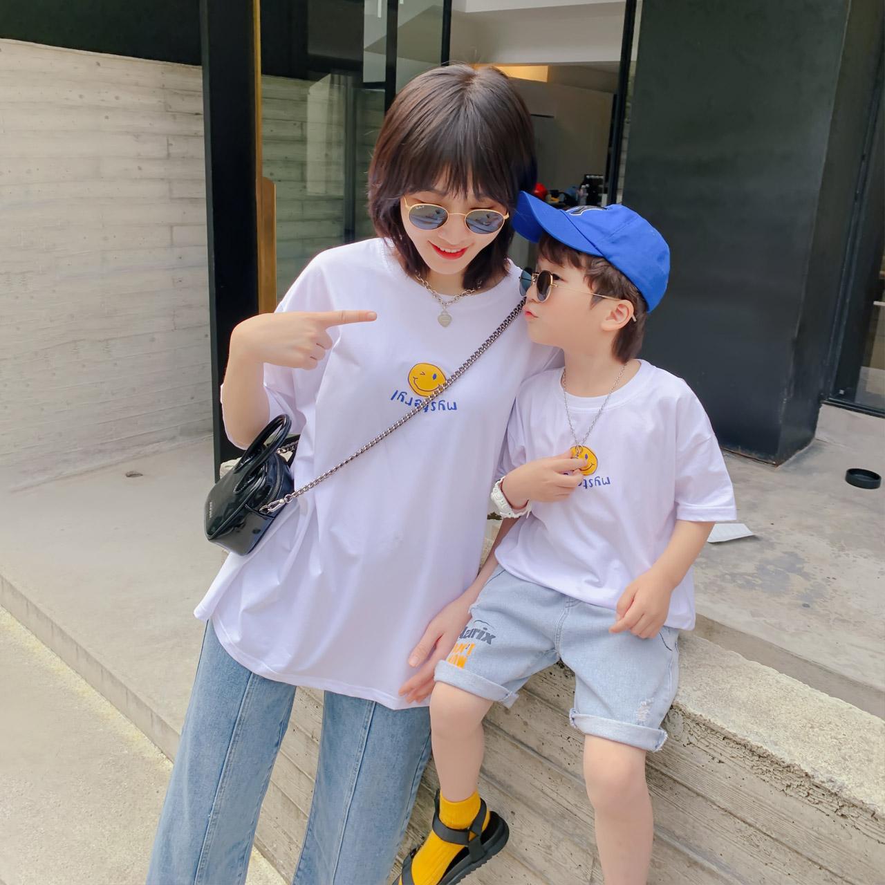 恤母子洋气夏季  新款潮 2020 左西童装男童亲子装儿童夏装笑脸短袖 T