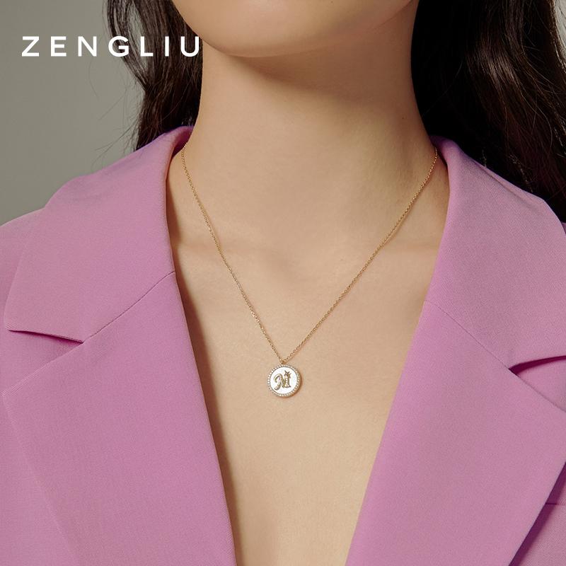 圆牌吊坠装饰 ins 纯银小众锁骨链 925 项链女 H 设计师字母轻奢 ZENGLIU