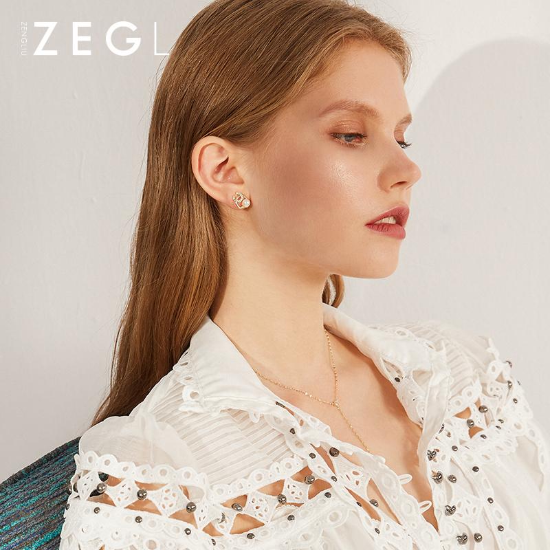 耳钉女高级感耳环小众气质优雅网红耳饰 银淡水珍珠双  ZENGLIU925 C