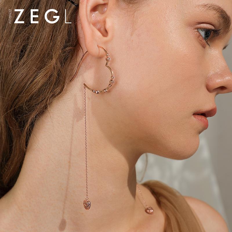 新款潮韩国耳饰 2020 爱心耳环耳圈女气质长款耳线心形耳坠 ZENGLIU