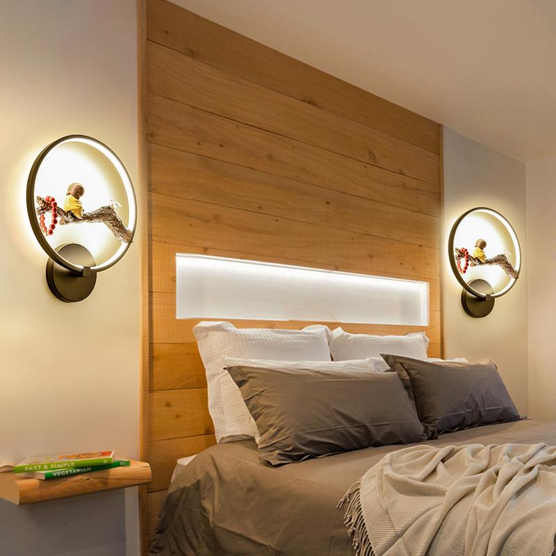 弥勒佛像前景墙壁灯 LED 新中式壁灯圆形茶楼茶室包间禅意灯禅式