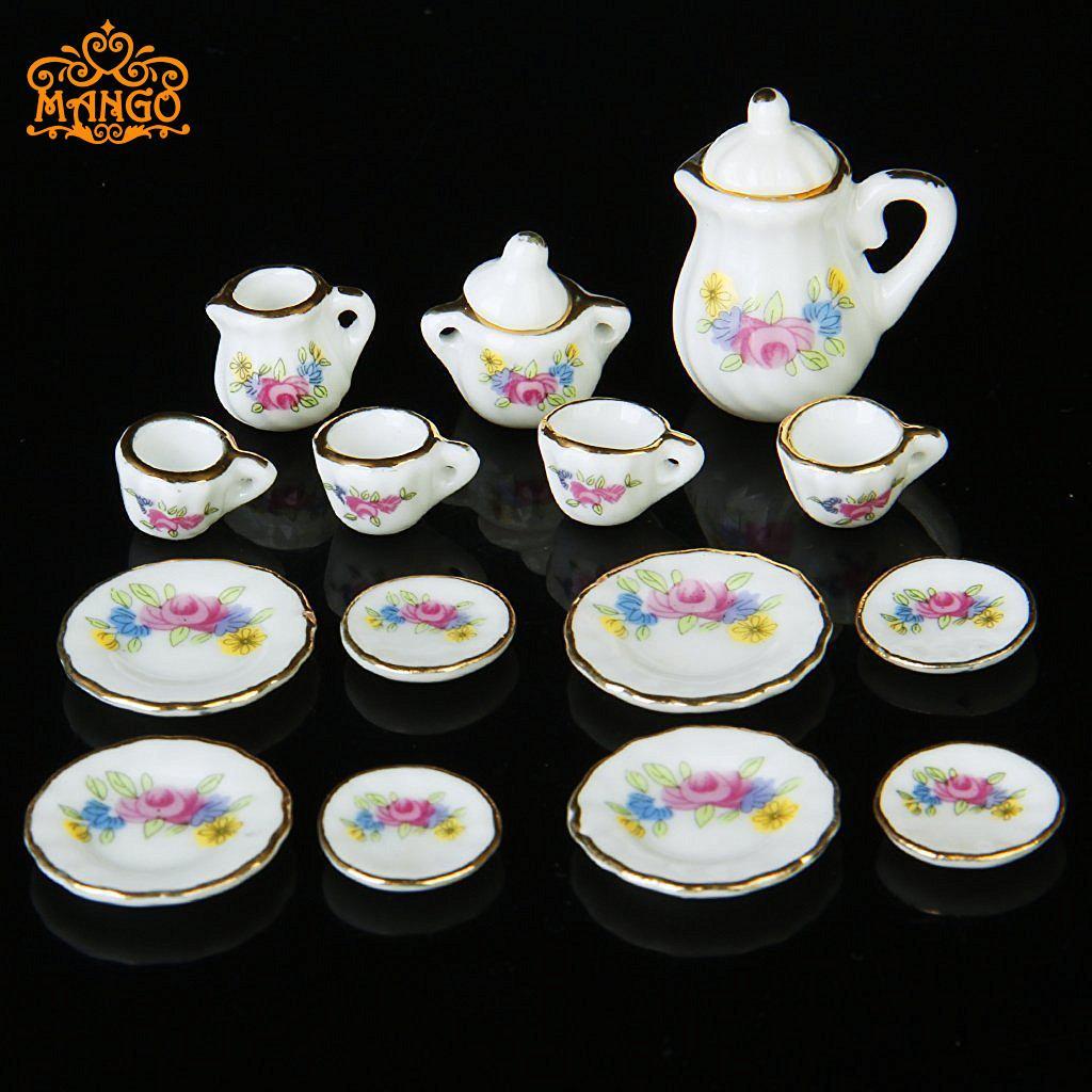 1:12娃娃屋diy小屋迷你陶瓷成品模型礼品玩具 15头茶具碗碟套餐具