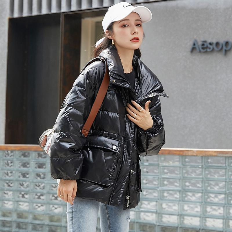 2020新款羽绒服女短款冬季面包服韩版宽松女小个子白鸭绒立领外套