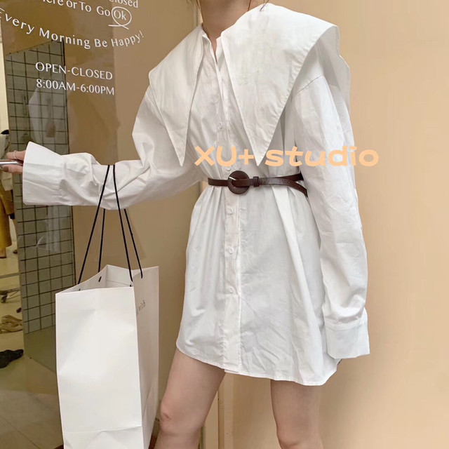 Korea 2020 new style retro big lapel temperament age-reducing loose western style single breasted mid-length shirt women