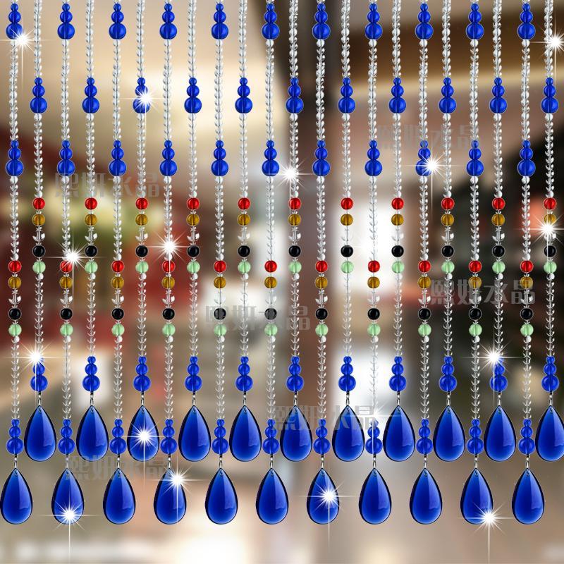 珠帘水晶珠帘门帘隔断帘玻璃水晶帘子卫生间客厅弧形成品帘风水帘