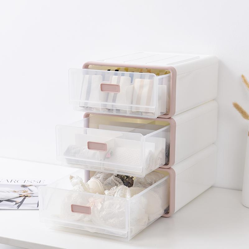 抽屉式收纳盒整理盒袜子内衣内裤文胸收纳多层格子家用塑料箱透明