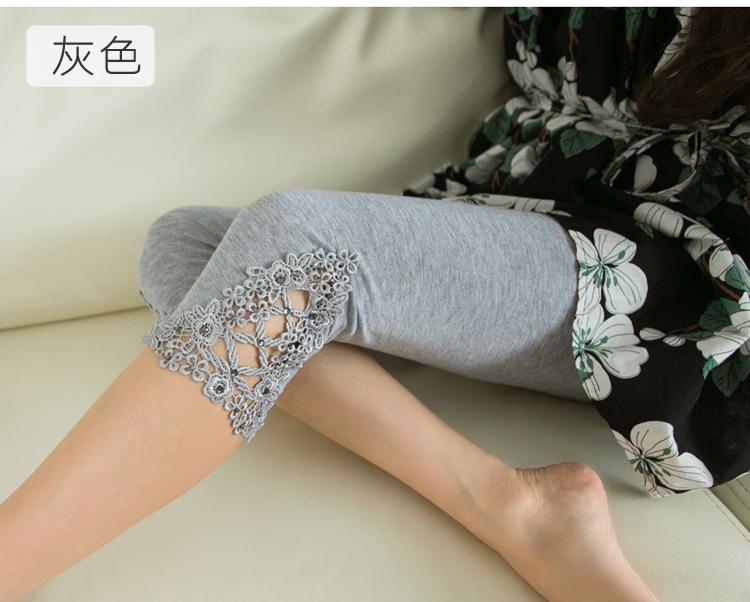 夏季莫代尔蕾丝高腰大码7分打底裤薄款夏天外穿小脚女短裤七分裤