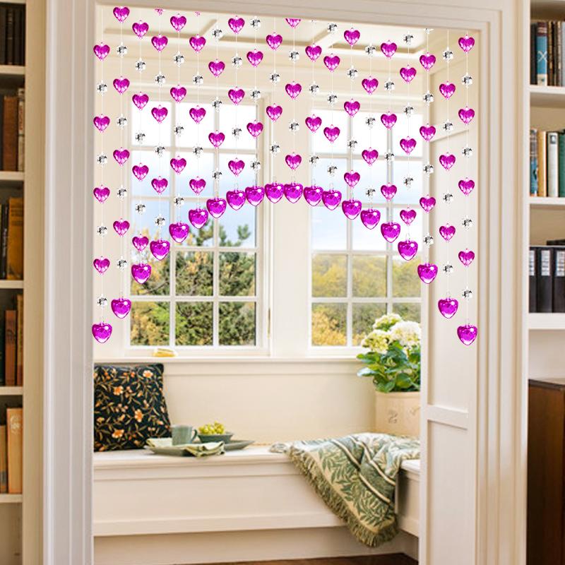 珠帘水晶帘子厨房客厅隔断弧形过道卧室门帘卫生间鞋柜玄关免打孔