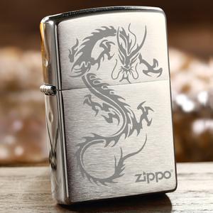 美国原装正版zippo打火机 正品芝宝进口zippo拉丝龙刻字防风男士